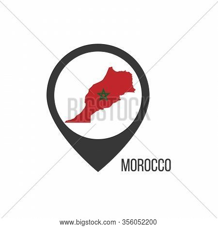 Map Pointers With Contry Morocco. Morocco Flag. Stock Vector Illustration Isolated On White Backgrou