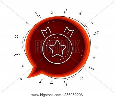Ranking Star Line Icon. Chat Bubble With Shadow. Winner Medal Sign. Best Rank Symbol. Thin Line Rank