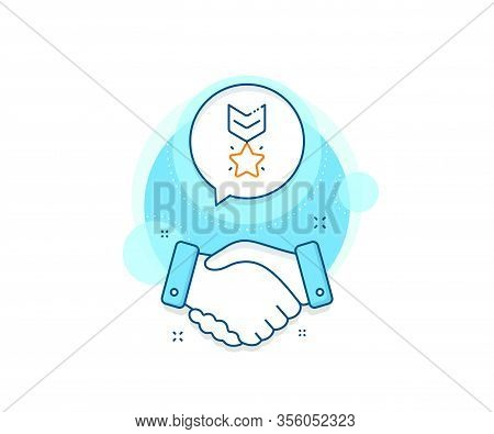 Ranking Star Sign. Handshake Deal Complex Icon. Winner Medal Line Icon. Best Rank Symbol. Agreement