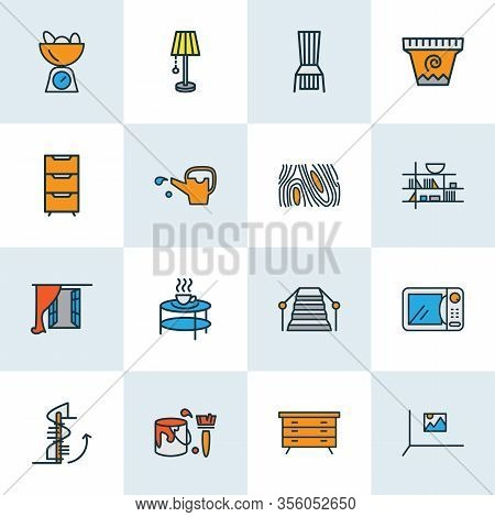 Home Decoration Icons Colored Line Set With Wall Picture, Circular Staircase, Coloring Wall And Othe