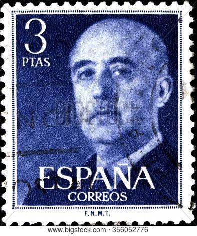 02.09.2020 Divnoe Stavropol Territory Russia Postage Stamp Spain 1955 General Franco The Portrait