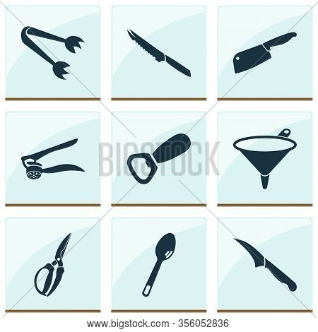 Cutlery Icons Set With Equipment, Chopping Knife, Bottle Opener And Other Garlic Press Elements. Iso