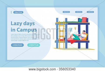 Spending Time After Class In College Dormitory Homelike Room. Boy On Twin Bunk Bed With Smartphone,