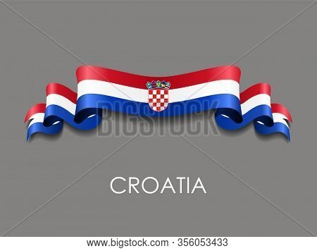 Croatian Flag Wavy Ribbon Background. Vector Illustration.