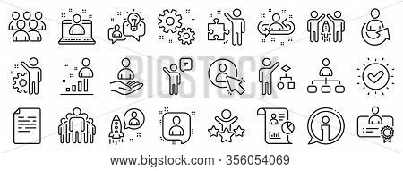 Set Of Business Audit, Startup Strategy And Employee Icons. Management Line Icons. Business Strategy