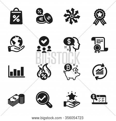 Set Of Finance Icons, Such As Online Accounting, Savings. Certificate, Approved Group, Save Planet.
