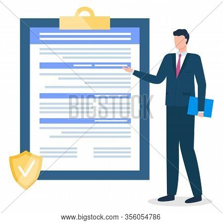 Male Character Working In Insurance Company Pointing On Contract Or Agreement On Clipboard. Business