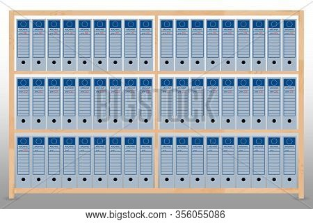 Illustration Of A Shelving With Filing Folders