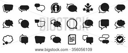 Social Media Message, Comic Bubbles And Chat. Speech Bubbles Icons. Think Sticker, Comment Speech An
