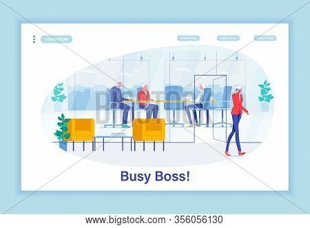 Super Professional Lady Boss, Busy All Day Long. Company Head Leaving Negotiating Table With Busines