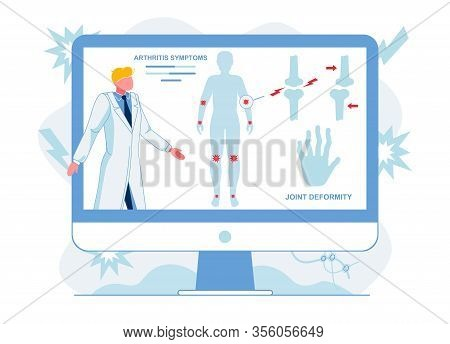 Doctor Analyzing Arthritis Symptoms Illustration. Medical Worker Diagnosing Joints Inflammation. Tel