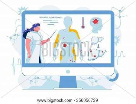Doctor Explaining Hepatitis Symptoms Illustration. Medical Worker Explaining Skin Irritations, Fever