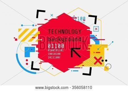 Abstract Technology Colorful Background In Cyberpunk Style. High Tech Banner Design With Place For T