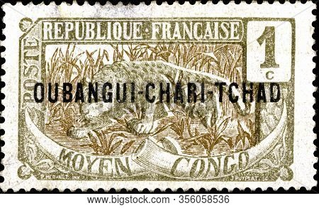 02 09 2020 Divnoe Stavropol Territory Russia Postage Stamp Ubangi Shari French Colony As Part Of Fre