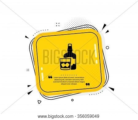 Whiskey Glass With Ice Cubes Icon. Quote Speech Bubble. Scotch Alcohol Sign. Quotation Marks. Classi
