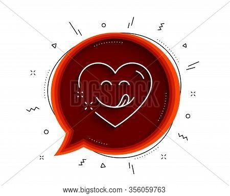 Yummy Smile Line Icon. Chat Bubble With Shadow. Emoticon With Tongue Sign. Comic Heart Symbol. Thin