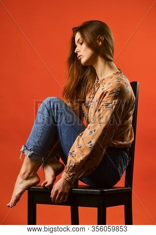 Depression Treatment. Lonely Girl Relaxing Red Background. Victim Behaviour. Lonely Day. Loneliness