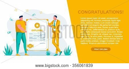 Banner Congratulation And Diploma, Landing Page. Men Are Holding Large Document With Inscription Dip