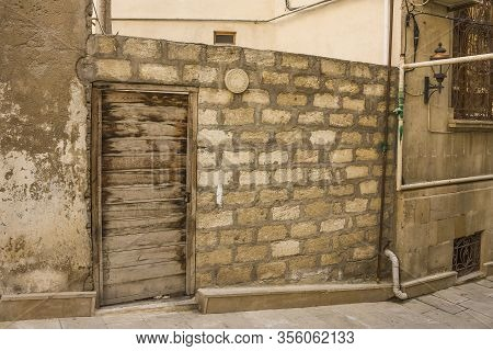 Old, Ancient Streets Of The Central Historical Part Of The City Of Baku, Republic Of Azerbaijan. The