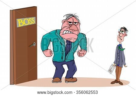 Angry Boss With Employee Isolated On White Background. Boss Man Character Screams On Worker. Boss Or