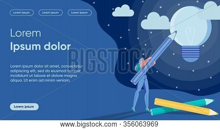 Woman Cartoon Character Making Dream And Idea Come True On Starry Night Background. Self-realization