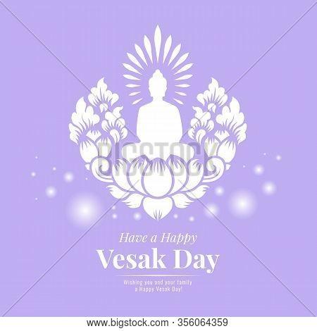 Vesak Day Banner With White Buddha Meditation On Lotus Art Sign Design On Purple Background
