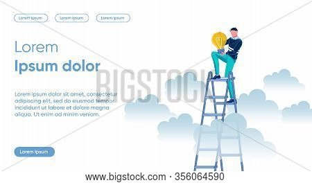 Businessman Cartoon Character Rising Up On Ladder With Electric Bulb In Hands. Striving Toward Goals