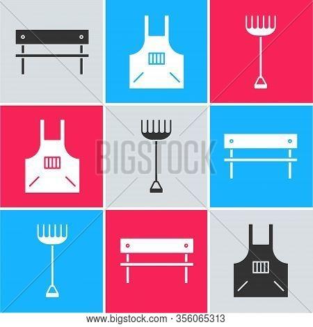 Set Bench, Kitchen Apron And Garden Rake Icon. Vector