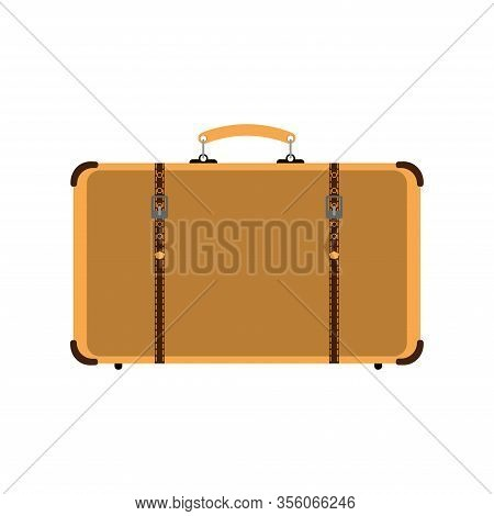 Retro Suitcase With Straps On The Clasps. Old Style. Vintage Vector Illustration.