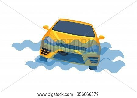 Car Submerging In Water, Auto Accident Flat Vector Illustration