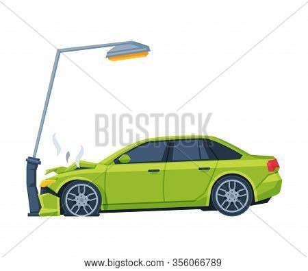 Car Crashed Into Lamppost, Auto Accident Flat Vector Illustration