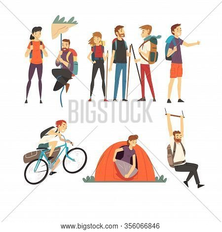 People With Hiking Backpacks Engaged In Active Tourism Vector Illustrations Set. Walking Journey Dur