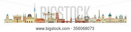 Panoramic Berlin Skyline Travel Illustration With Main Architectural Landmarks In Flat Style Isolate
