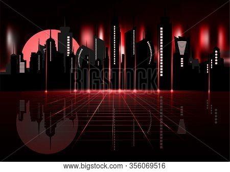 80s Retro Sci-fi Background With Night City Skyline. Vector Futuristic Synth Retro Wave Illustration