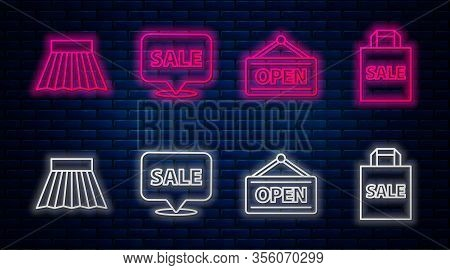 Set Line Hanging Sign With Sale, Hanging Sign With Open, Skirt And Shoping Bag With Sale. Glowing Ne