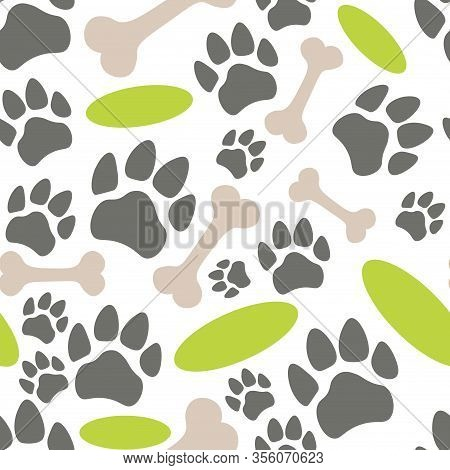Pets Paw Pattern. Bones, Flying Saucer And Animal Footsteps Seamless Texture. Pet Store Background.