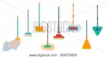 Brooms And Mops Equipment Set. Hygiene Handling Objects, Household Mop And Housework Broom Tools Iso