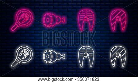 Set Line Chicken Leg, Fish Steak, Fish Steak In Frying Pan And Fish Steak. Glowing Neon Icon On Bric