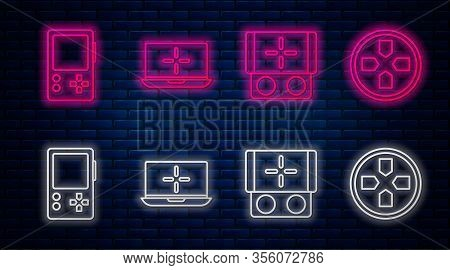 Set Line Laptop, Portable Video Game Console, Portable Video Game Console And Gamepad. Glowing Neon