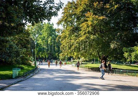 Paris/france - September 10, 2019 : People In Parc Monceau