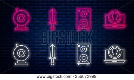 Set Line Sword For Game, Stereo Speaker, Web Camera And Create Account Screen. Glowing Neon Icon On