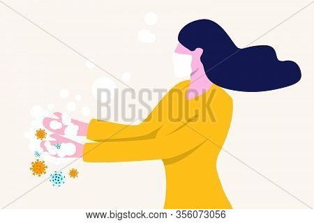 Washing Hands To Sanitize And Disinfect Covid-19 Coronavirus Pathogens From Your Hands Concept, Woma