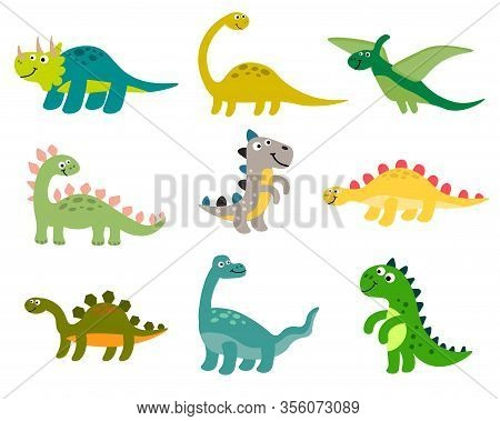 Cute Cartoon Dinosaurs Set In Flat Style Isolated On White Background. Vector Illustration.