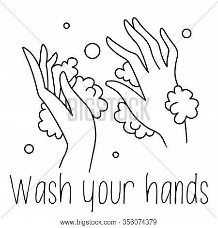 Washing Hands Line Drawing Black And White Soap Foam Poster