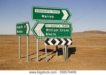 Roxby Downs Woomera, Maree And William Creek Marla Oodnadatta Track Signposts Roadside In The Austra