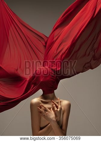 Blooming Rose. Graceful Classic Ballerina Dancing On Grey Studio Background. Deep Red Cloth. The Gra