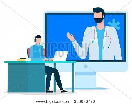Patient Talking To Doctor Via Laptop. Video Conference With Doc. Patient Consulting At Medical Worke