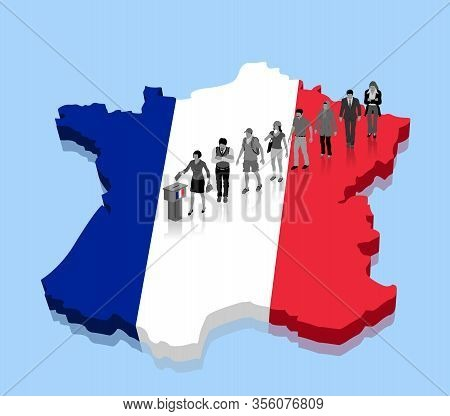 French Citizens Are Voting For Election Over A France Map. All The Objects, Shadows And Background A
