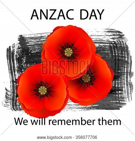 Anzac Day Background With Red Abstract Poppies. Red Poppies On A Background Of Hand Drawn Ink Grunge