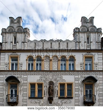 Old Frontage On Historical House At Hradec Kr